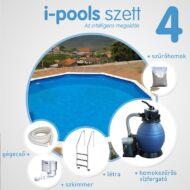 I-POOLS 4 kerek medence szett 4,6 x 1,2 m Fémfalas családi medence  IPS 004
