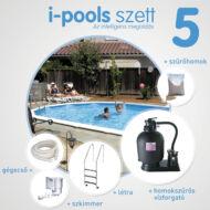 I-POOLS 5 ovális medence szett 5 x 3 x 1,2 m Fémfalas családi medence IPS 005