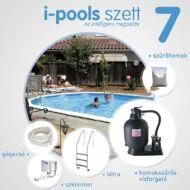 I-POOLS 7 ovális medence szett 7,3 x 3,75 x 1,2 m Fémfalas családi medence IPS 007