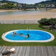 PONTAQUA 7,3x3,75x1,2 m ovál Földbe épített medence Fémfalas családi medence PAB 126