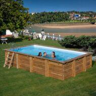 PONTAQUA TIMBER szögletes fa medence 6,0 x 4,0 x 1,33 m Fából készült medencék FFA 954