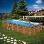 PONTAQUA TIMBER szögletes fa medence 8,0 x 4,0 x 1,46 m Fából készült medencék FFA 955