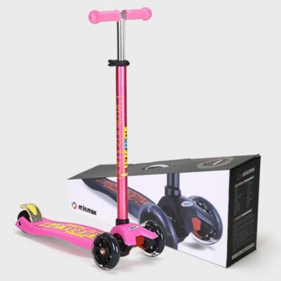 MICMAX Smart Háromkerekű világító maxi roller, rózsaszín