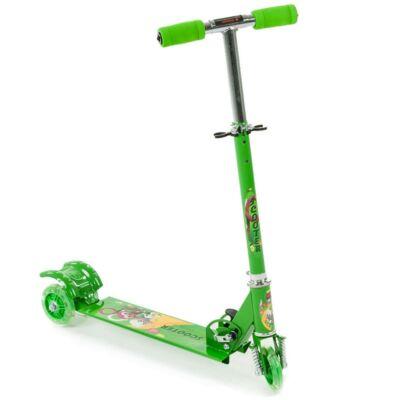 Háromkerekű világító gyerek roller, zöld